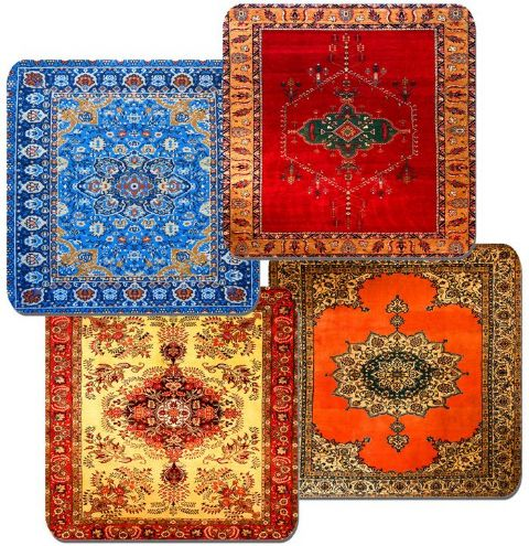 Persian Rug Design Print Drinks Coasters Set Of 4. Vintage Carpet Quality Print